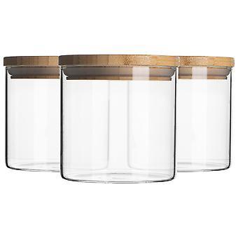 צנצנת זכוכית 3 חלקים עם סט מיכל אחסון מכסה עץ - עגול בסגנון סקנדינבי מיכל אטום - 550ml