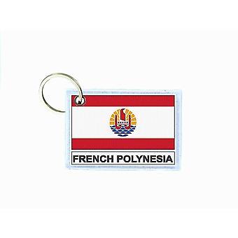 Porte cles cle clefs imprime double face drapeau PF polynesie francaise