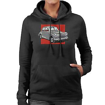 Morris Minor Red Background British Motor Heritage Women's Hooded Sweatshirt