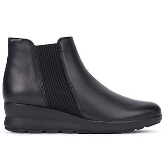 Black Mephisto Leather Ankle Boots with Zipper ed Elastic