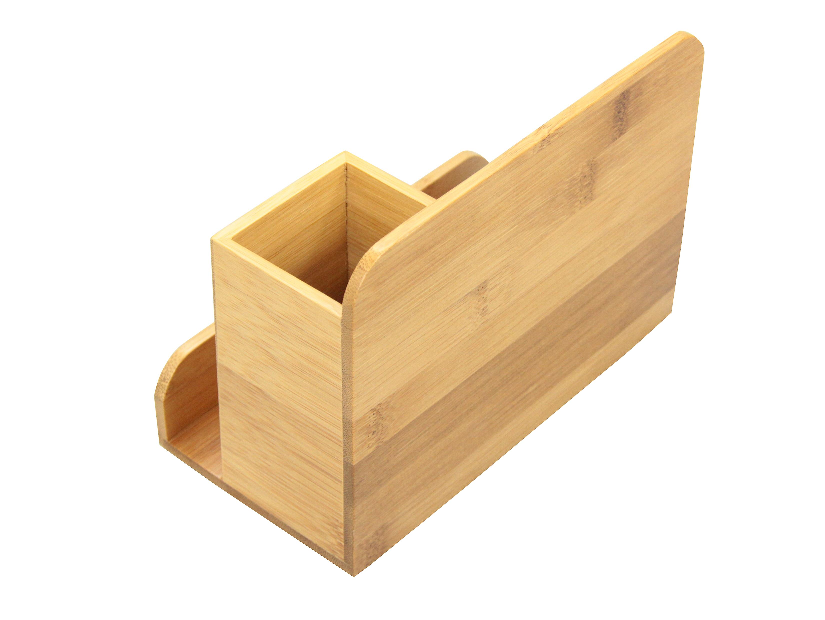 Woodquail Bamboo Small Desk Organiser Pen Holder