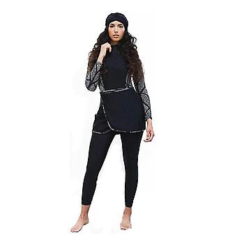 Muslim Women Swimwear Modest Patchwork Hijab Long Sleeves Sports Swimsuit