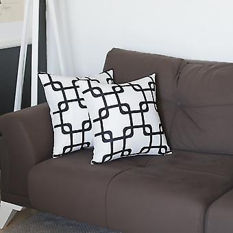 Geometric Black Squares Square - Pillow Cover (set Of 2)
