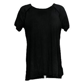 H by Halston Women's Top Essentials Crew-Neck Raglan-Sleeve Black A354103