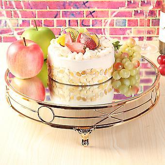 14 & apos;' الذهب مطلي مرآة كعكة الوقوف جولة المعادن الديكورات الزفاف عرض الدعائم
