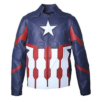 Captain america character real leather jacket