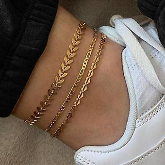 Vintage Anklet Set, Fashion, Multi Layers Adjustable, Bracelet On Leg Foot