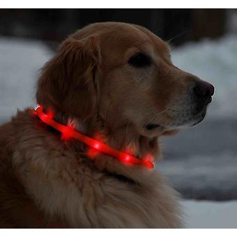 Led valo kaulukset koirille 70 cm säädettävä - punainen