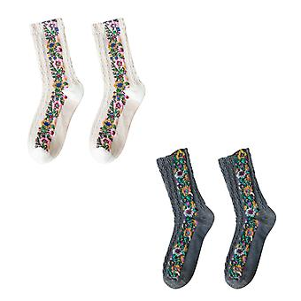 Floral embroidered winter socks
