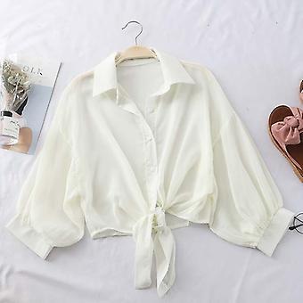 Chiffon shirts Kvinder, Halv ærme, Knap Up, Bluser Kvinde, Casual Shirt