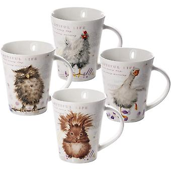 Porcelain Mugs Sets of 4 Coffee Cups for Tea Coffee and Hot Drinks