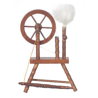 Dolls House Miniature Couture Room Meubles Walnut Wood Spinning Wheel