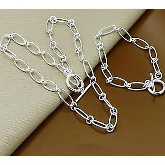 925 Silver Necklace Bracelet Jewelry Set
