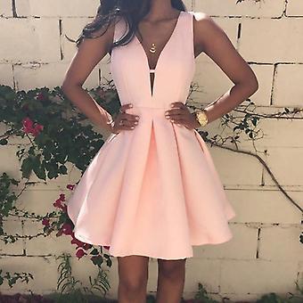 Satin Deep V-neck Sleeveless Short Dress