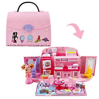 Deao children'Äôs 2-in-1 roze draagbare poppenhuisspelset met licht- en muziekfuncties, accessori