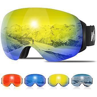 Kuyou Ski Goggles - Large Spherical Frameless Snow Goggles Interchangeable Lens OTG Double Lens