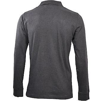 French Connection Long-Sleeve Jersey Polo Shirt, Charcoal Melange