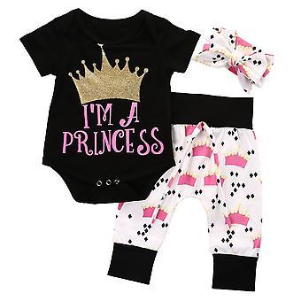 Baby Mädchen Kurzarm Bin eine Prinzessin Outfit
