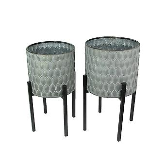 Set of 2 Galvanized Zinc Finish Leaf Pattern Stamped Metal Planters With Wooden Stands