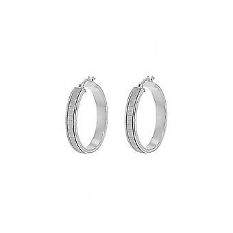 Evighed sterling sølv stardust runde kreolske hoop øreringe