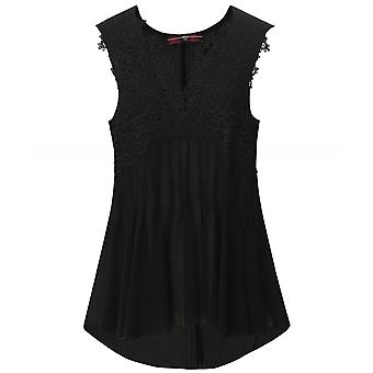 High In-Order Sleeveless Lace Trim Top