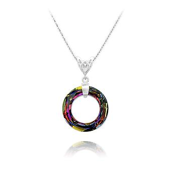 Silver volcano crystal ring necklace