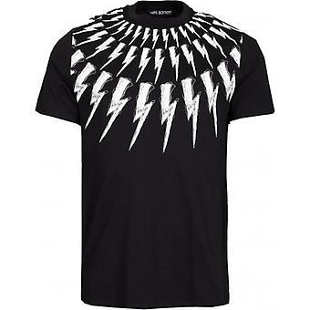 Neil Barrett gribouillis Fair-Isle Thunderbolt T-Shirt