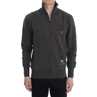 Aeronautica Militare Gray Cotton Stretch Full Zipper Sweater