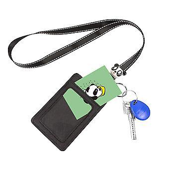 Leuyuan Id Badge Case Holder com cordão e chaveiro, estilo Panda