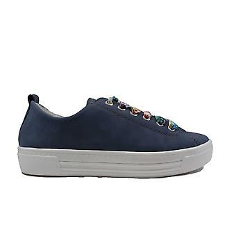 Remonte D0900-16 Blue Leather Womens Lace Up Casual Trainers