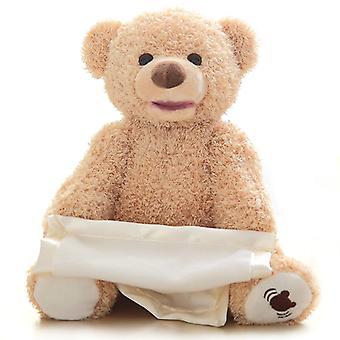 Cute Peek a Boo Bear Hide Play Seek Toy Stuffed Animal Talking Shy Bear Electric Talk Peekaboo Bear 25cm Birthday Christmas Gift