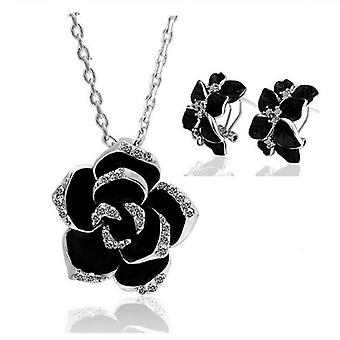 Women Gold-color Black Painting Rose Flower Necklace Earrings Ring Jewelry Sets