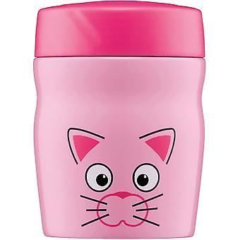 HanFei foodMug - Thermobehlter fr Essen, Edelstahl 350ml Pink Katze, Kinder Speisegef fr Schule,