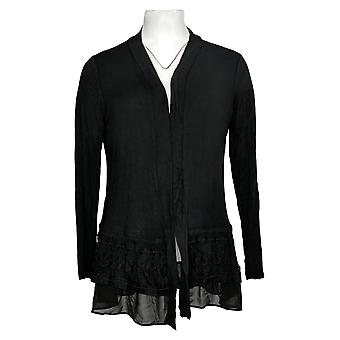 LOGO by Lori Goldstein Women's Sweater Knit Cardigan Black A285049