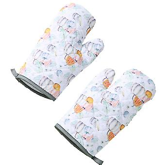 Kitchen oven heat-insulating gloves, microwave oven anti-scald and high-temperature baking gloves