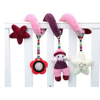 Cartoon Doll Baby Spiral Toy Cute Stroller Hanging Toy With Sound Ring Bb Device Sound Box Plush Activity Sipral Pink