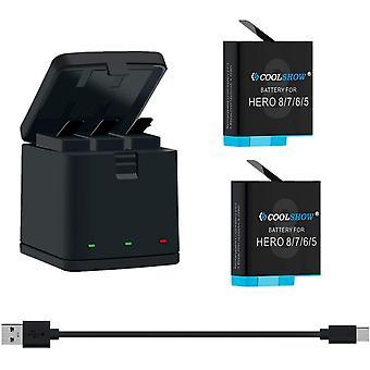 FengChun COOLSHOW 2 Akkus mit 3-Kanal USB Speicherladegerät für GoPro Hero 8,Hero 7, Hero 6, Hero 5,