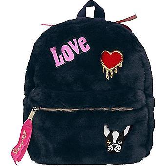 Depesche 10682 - Faux fur backpack, TopModel model, ca. 23 x 20 x 10 cm, color: Dark blue