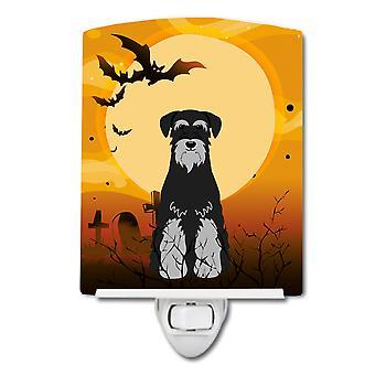 Caroline s Schätze Halloween Standard Schnauzer schwarz grau Keramik Nachtlicht, 6 X 4, multicolor