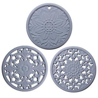 3PCS/Set Silicone Trivet Mat Non Slip Coasters Hot Pot Holder Table Kitchen Hot Pads(gray)