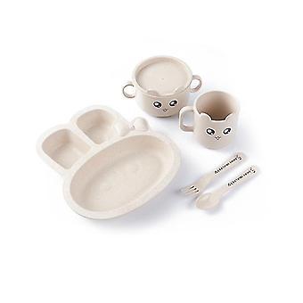 Beige rabbit children's tableware five-piece set of creative cartoon wheat straw environmental protection x3537