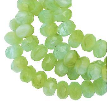 Tjeckiska glaspärlor, Faceted Rondelle 3x5mm, Peruansk Opal Mix (Grön), 1 Strand, av Raven's Journey