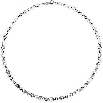 Gisser Jewels - Halsband - Choker Oval Round Fantasy Link set med Zirconia - 6mm Wide - Längd 43cm - Gerhodineerd Zilver 925