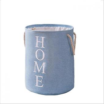 Round Foldable Fabric Storage Bag Dirty Clothes Basket Cotton Linen Storage Bucket Household Items