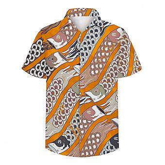 ユンユン メン&アポス;s カープパターン 3D プリント半袖シャツ