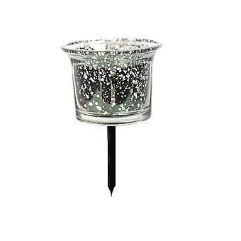 Glass Tealight Holder on Metal Pin - Silver