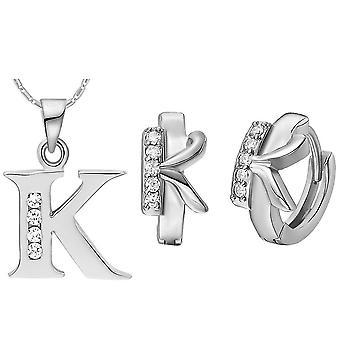 (K)  Alphabet Rhinestone Womens 26 Initial Letter Huggie Earrings Necklace Jewelry Set Silver
