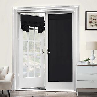 Blackout franske dør gardiner termisk isolert dør panel personvern dør skygge tricia gardin for dør vindu gardiner - 2 panel, svart