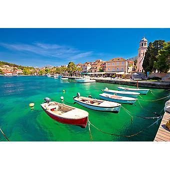 Tapetmaleri Turkis vannkanten i Cavtat Town i Kroatia