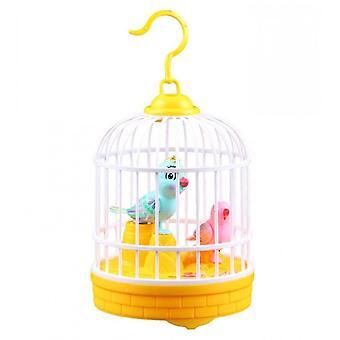 Éneklő és csiripelő madár ketrecben Reális hangok mozgások Madár figurák (sárga)